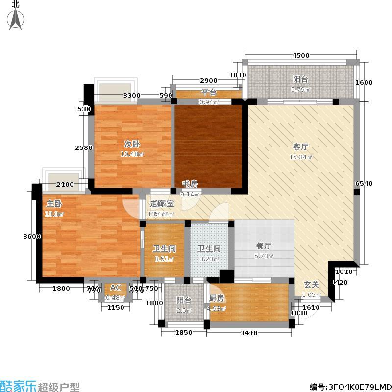 中铁塔米亚115.25㎡一期3号楼标准层j1户型