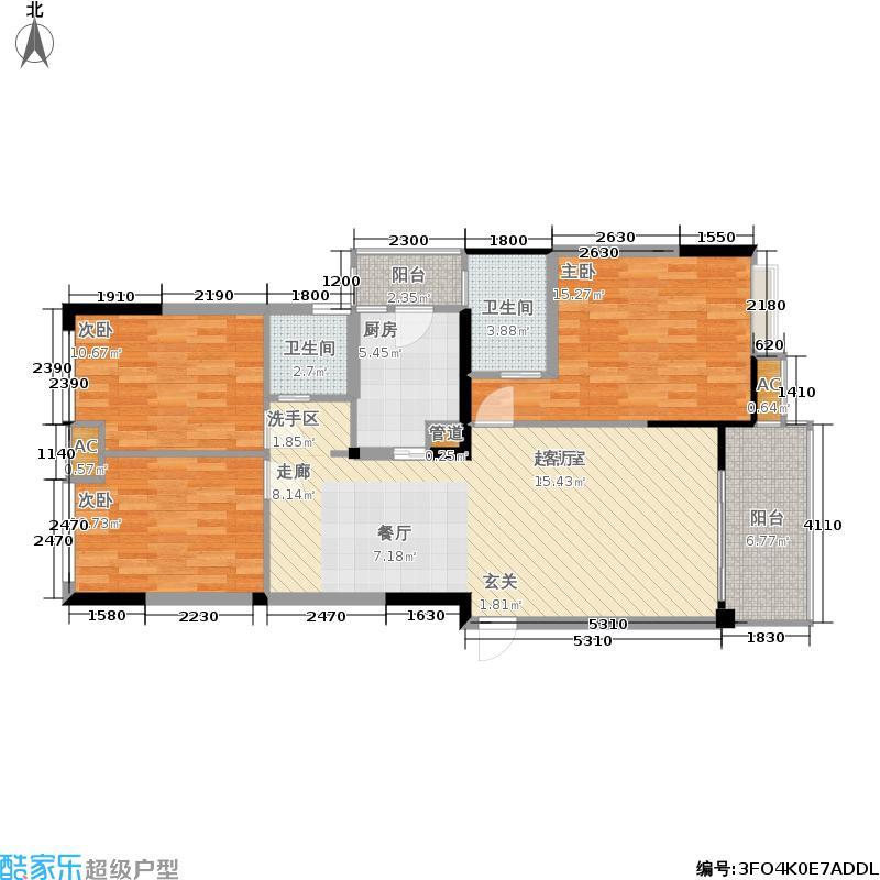 中铁塔米亚113.38㎡一期1号楼标准层g1型户型