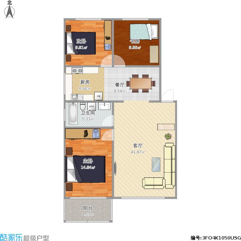 户型设计 阳光花园三室两厅  内蒙古 赤峰 阳光花园 套内面积:85.