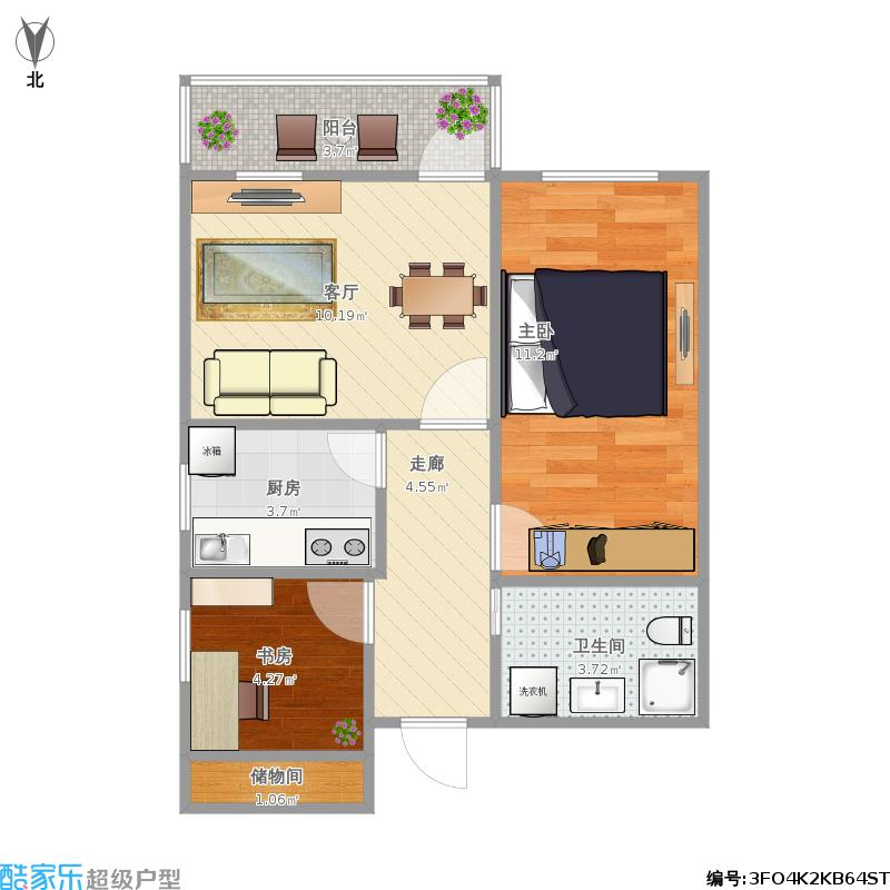 户型设计 龙翔路小区63方两室一厅的户型图  北京 龙翔路小区 建筑