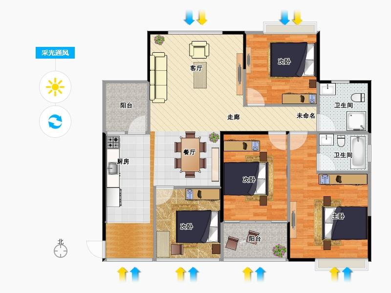 户型设计 123平米四房两卫两厅标准精确图   