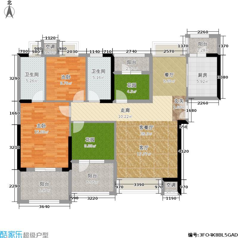 常绿林溪谷125.39㎡四房二厅二卫户型4室2厅2卫图片