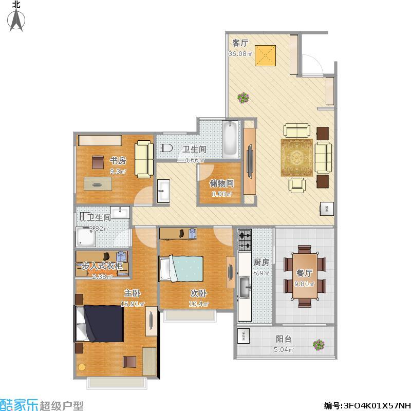 户型设计 国奥小区户型图  广西 桂林 未知小区 套内面积:106.