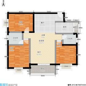 水岸新城116.42㎡13#B4户型3房2厅2卫户型3室2厅2卫