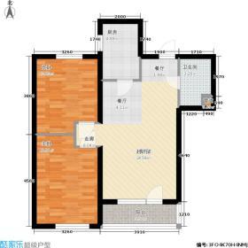D户型 两室两厅一卫 建筑面积约87.67-92.68㎡
