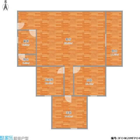 丽阳苑75平方A4户型两房两厅