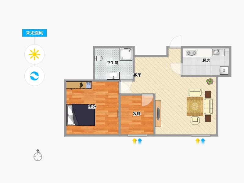 星汇半岛2室1厅1卫1厨72.00㎡户型图