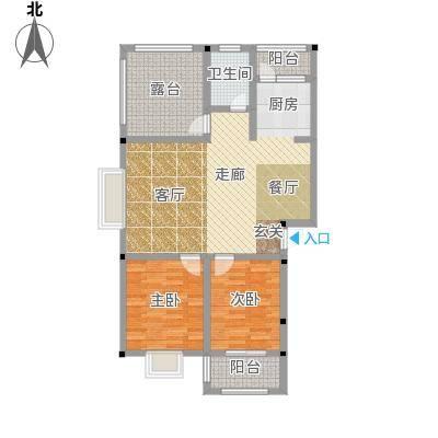 和祥苑82.30㎡1#1-A型:2房2厅1卫户型