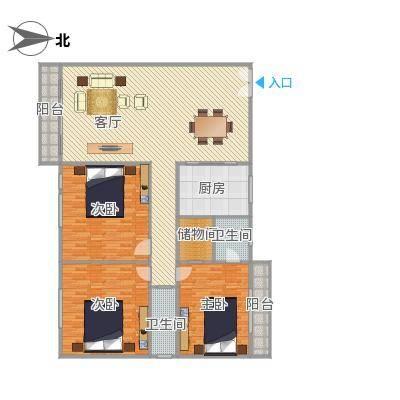 明月园147平大3房户型