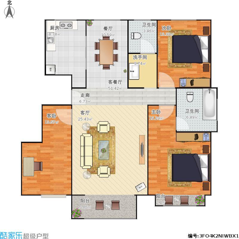 湖东郦城的130方三室两厅两卫户型图