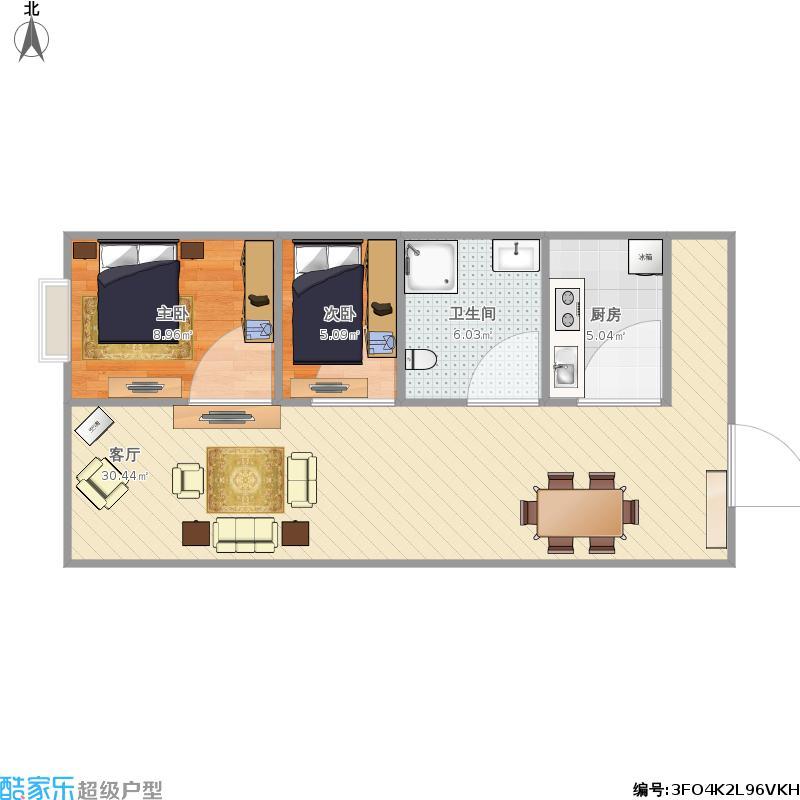 74平方两室一厅设计图展示图片