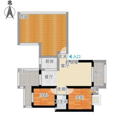 名门外滩78.00㎡G顶两室两厅单卫三花园户型