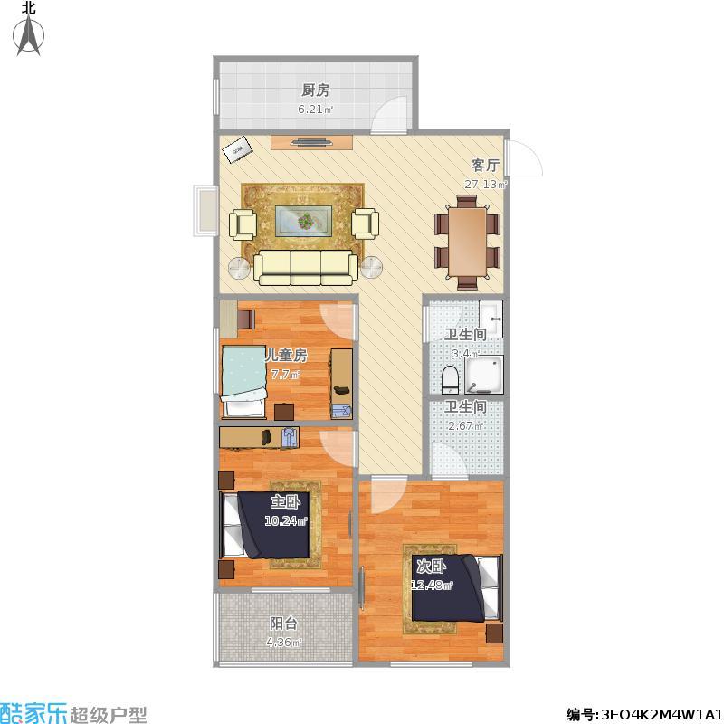 户型设计 113三室两厅两卫  河北 邯郸 宝盛花语城 套内面积:74.