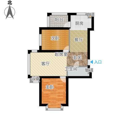 祥瑞府邸53.90㎡二居一厅53.90平方米户型