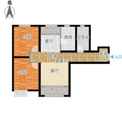 保利香颂湖95.00㎡高层F户型 观湖华宅户型2室2厅1卫
