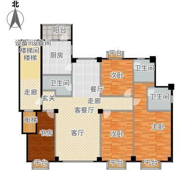 米兰DC二期206.81㎡三居一厅建筑面积206.81平方米户型