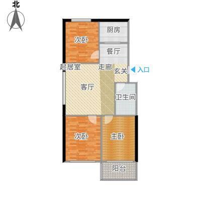 经区小城故事90.00㎡三室两厅两卫户型