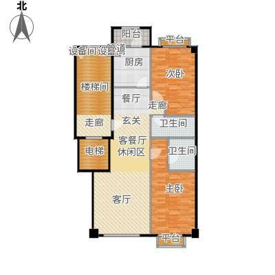 米兰DC二期116.20㎡二居一厅建筑面积116.20平方米户型