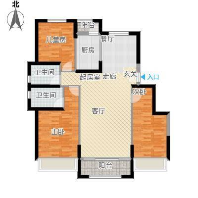 中铁诺德名苑户型3室2卫1厨