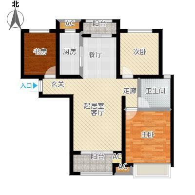 豪森名邸户型3室1卫1厨