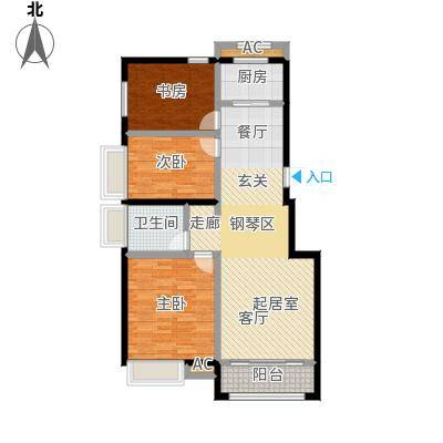 开元花半里A1户型3室2厅1卫户型3室2厅1卫