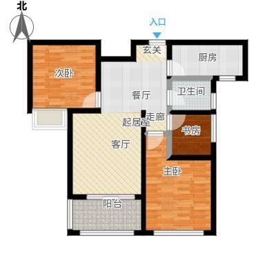 豪森名邸95.00㎡b33室2厅1卫95平户型2厅1卫