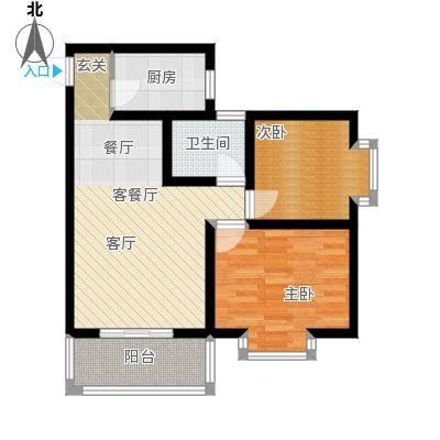 嘉园馨苑72.38㎡F户型 两室两厅一卫户型