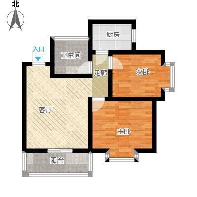 嘉园馨苑73.23㎡G户型 两室两厅一卫户型