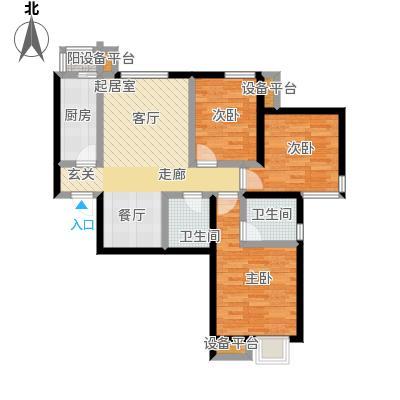天和林溪98.97㎡B1户型 三室二厅二卫户型3室2厅2卫