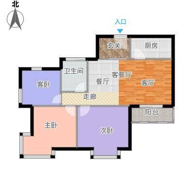 中通锦龙花园97.00㎡1-2栋03-04型户型3室1厅1卫1厨