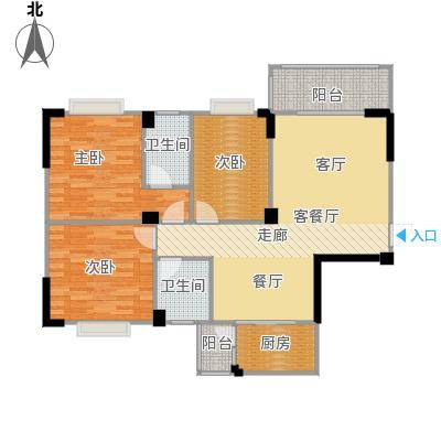 阳光花园109.00㎡A户型 6、7号楼户型3室2厅2卫
