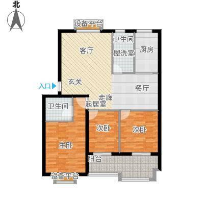 天洁国际雅典城115.00㎡A05户型3室2厅2卫