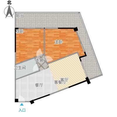 中航元屿海101.79㎡A2-3型户型2室2厅1卫