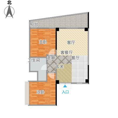 中航元屿海87.54㎡A2-3型户型2室2厅1卫