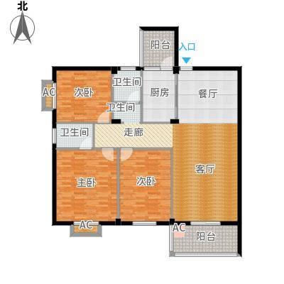 书苑小区户型3室2卫1厨