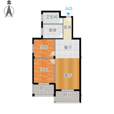书苑小区户型2室1卫1厨