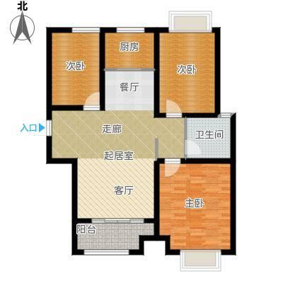 凤凰水城126.62㎡高层B3户型3室2厅1卫