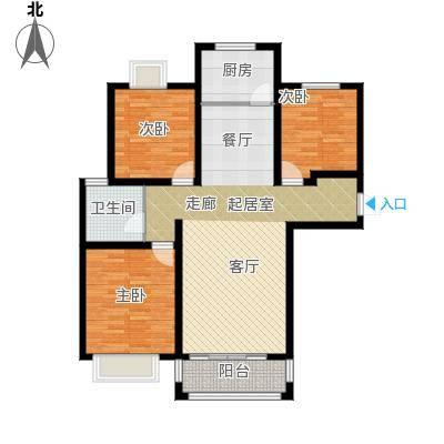 凤凰水城116.96㎡小高层E1户型3室2厅1卫
