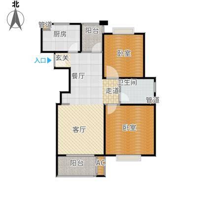 招商南桥1号87.00㎡A1户型两房两厅户型