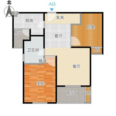 招商南桥1号80.00㎡二房二厅一卫-85平方米-82套户型