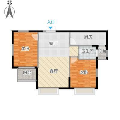 凤凰御景90.36㎡A2标准层户型2室2厅1卫