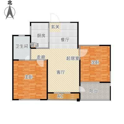 长江国际花园二期90.00㎡A1户型2室2厅1卫