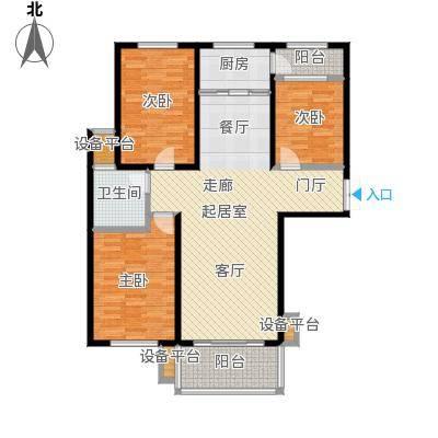 冠亚星城108.00㎡三室两厅一厨一卫户型3室2厅1卫
