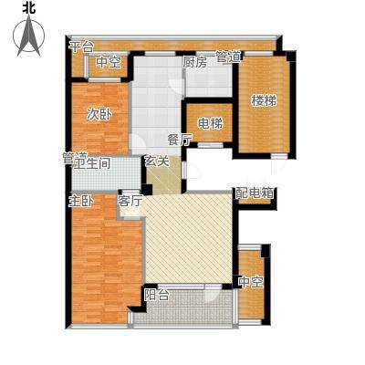 绿城百合花园100.00㎡D6号楼西单元 两室两厅一卫户型2室2厅1卫