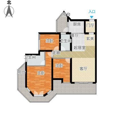 中德英伦城邦92.00㎡V型 三房两厅双卫户型3室2厅2卫