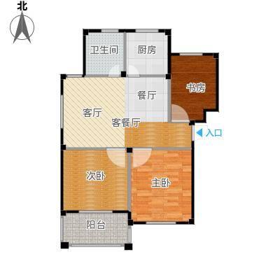 东海明园83.69㎡9#楼04户型3室2厅1卫