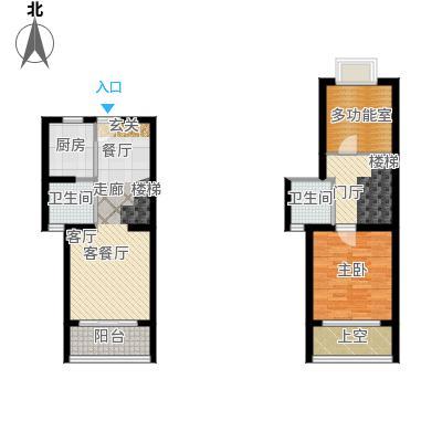 58㎡二房二厅的,面积在81平方米左右户型