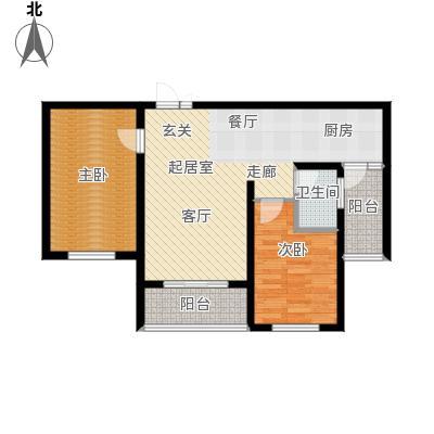 滨洲华府85.00㎡F户型2室2厅1卫