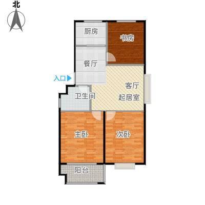 水岸名居85.20㎡3号楼1单元东户型 3室2厅1卫户型3室2厅1卫