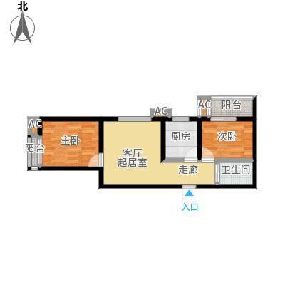 盛世桃城2室2厅1卫 65.50平米户型2室2厅1卫